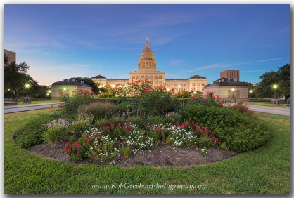 Flower fill the small garden in front of the Texas Capitol in Austin, Texas.