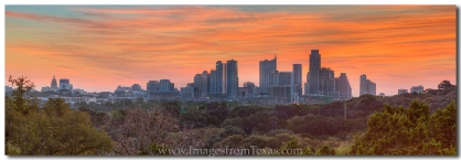 The Austin skyline awakens on a colorful Autumn morning.