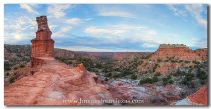The Lighthouse, an iconic and well-known structure in Palo Duro Canyon, enjoys a cold evening in this Texas panorama.