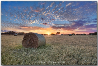 A crazy beautiful sunset falls over a Texas field of hay bales.