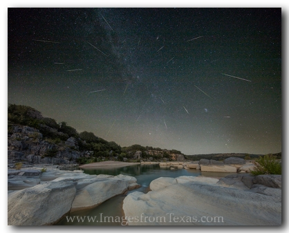 Perseids fall across the Texas Hill Country Sky.